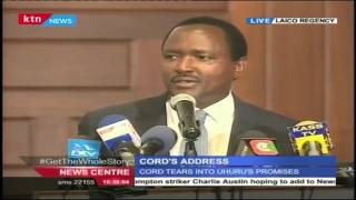 Former VP Kalonzo Musyoka's Full Speech During CORD's State Of The Nation Address