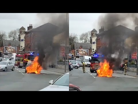 Exploding Car Turned Into Fireball At Major Liverpool Junction