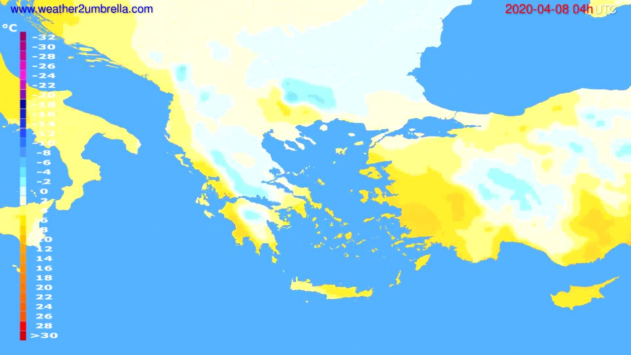 Temperature forecast Greece // modelrun: 12h UTC 2020-04-07