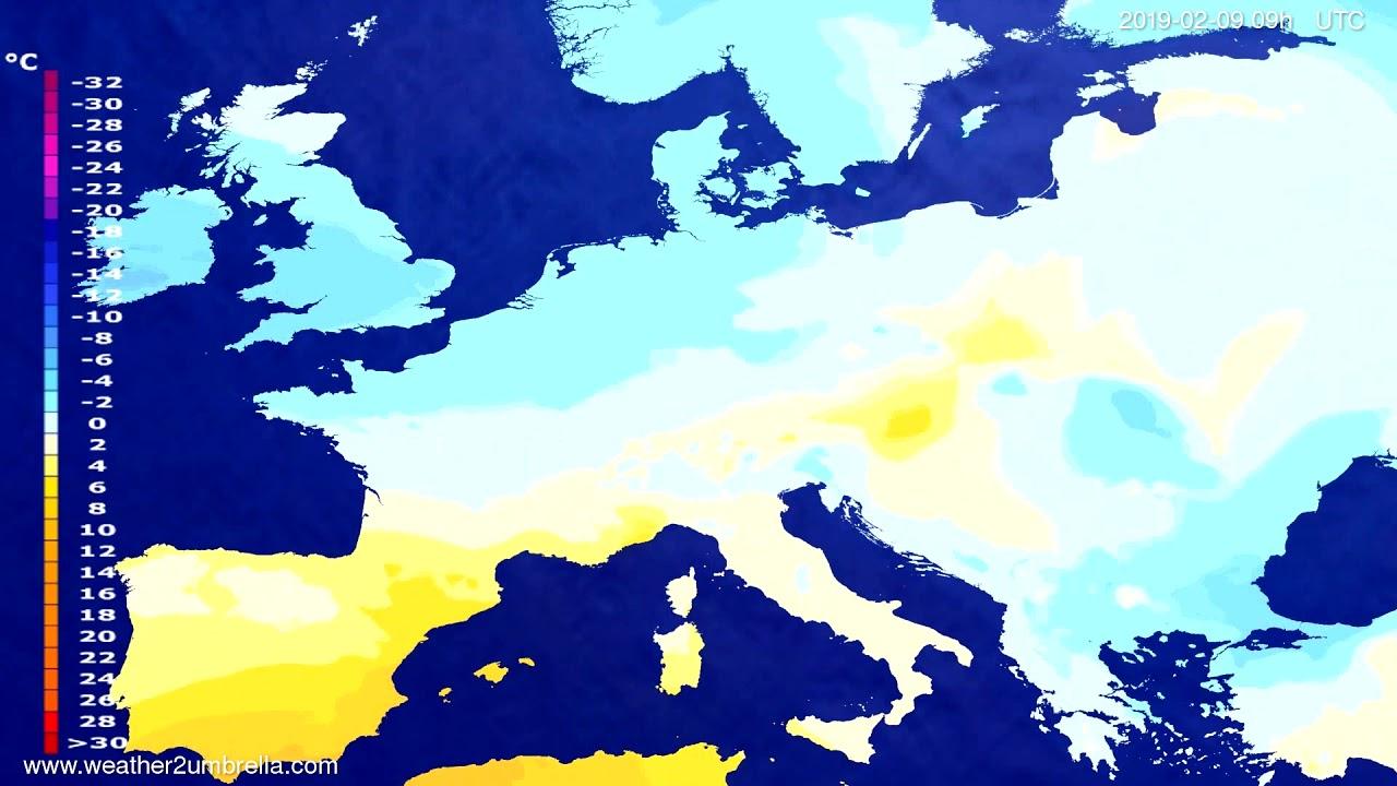 Temperature forecast Europe 2019-02-07