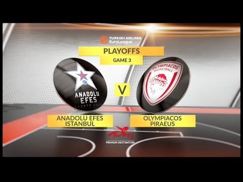 EuroLeague Highlights Playoffs 3: Anadolu Efes Istanbul 64-60 Olympiacos Piraeus