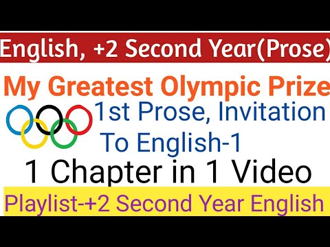 🛑MY GREATEST OLYMPIC PRIZE, +2 SECOND YEAR ENGLISH, CHSE ODISHA