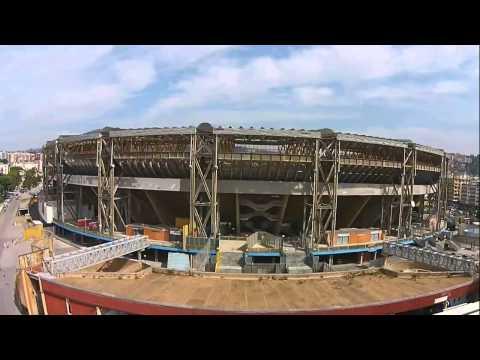 stadio san paolo di napoli, visto dall'alto con un drone