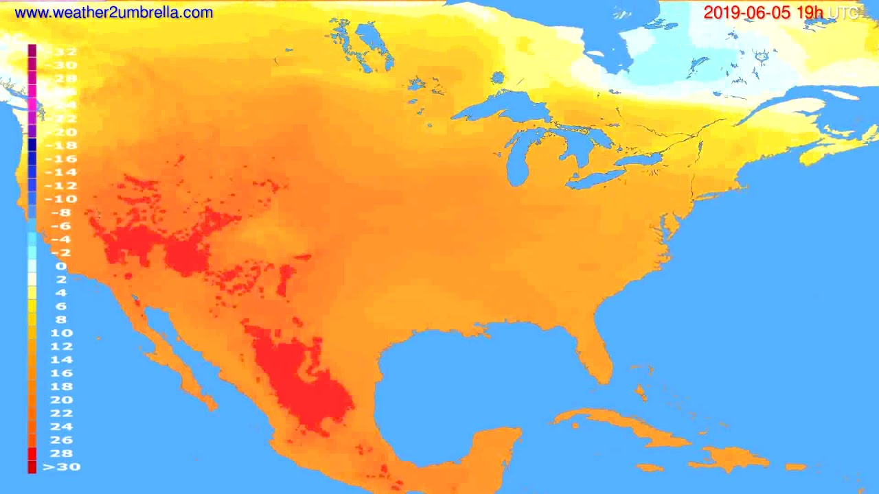 Temperature forecast USA & Canada // modelrun: 12h UTC 2019-06-02