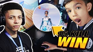 Little Brother Plays On TSM MYTH'S Fortnite Account And Drops 15 Kills!