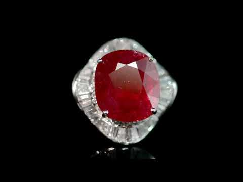 AIGS Certified 28.88ct Oval Cut Ruby and Diamond Ring