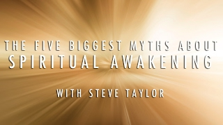 A screenshot of 'The Five Biggest Myths About Spiritual Awakening' video, with Steve Taylor