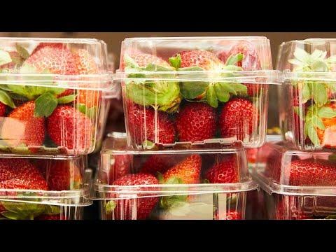 Metallnadeln in Erdbeeren, Bananen und Äpfeln Austral ...