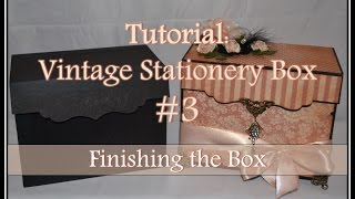 Part 3 of 3In this tutorial, I explain how to decorate and finish the box. Please feel free to let me know if you have any questions!You can see this box featured in Graphic 45: A Ladies Diary (My Collection):https://youtu.be/7fEK6cNLx9kFor tips on staining flowers, check out this video:https://youtu.be/yhA07hCrNj8Thank you for watching and keep a look out for another video coming soon!Don't forget to subscribe for more fun stuff!