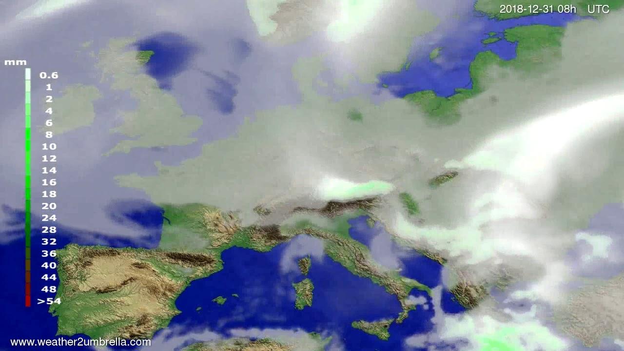 Precipitation forecast Europe 2018-12-28