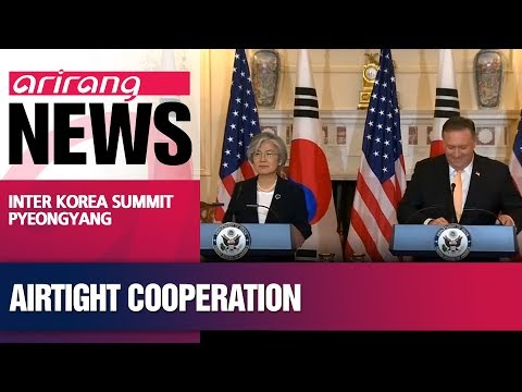 Seoul's Foreign Minister Kang talks with U.S. State Secretary Pompeo on Monday to share progress