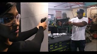 50 cent and girlfriend shooting guns