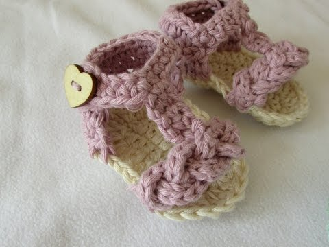 How to crochet pretty baby summer sandals / shoes