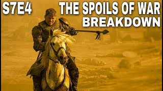 Welcome back for another Game of Thrones Season 7 Breakdown Video. I just finished watching Game of Thrones Season 7 Episode 4 The Spoils of War so let's take a closer look at everything this action packed Episode featured. Jaime Lannister sends the Gold from the Tyrell's back to King's Landing. Cersei Lannisters meet with Tycho from the Iron Bank. Littlefinger gave Bran Stark the Valyrian Steel Dagger. Arya Stark arrives in Winterfell. Sansa Stark and Arya Stark reunite. Sansa and Arya Stark talk in the Crypts of Winterfell. Bran Stark and Arya Stark reunite. Bran Stark gives Arya Stark the Valyrian Steel Dagger. Jon Snow and Daenerys Targaryen go into the Caves on Dragonstone. Jon Snow shows Daenerys some Cave Paintings done by the Children of the Forest. Arya Stark and Brienne Sparring Match. Jon Snow and Theon Greyjoy have a confrontation on Dragonstone. Daenerys attacks the Lannisters with Drogon and the Dothraki. Bronn shoots Drogon. Drogon burns Lannisters. Jaime Lannister charges Daenerys and Drogon. Bronn saves Jaime Lannister's life. So much happened in this episode! Comment down below with all your thoughts. Thanks for watching! Images from Game of Thrones are property of their creators, used here under fair use.Support the Channel on Patreon right here!https://www.patreon.com/TalkingThronesFollow me on Twitter here!https://twitter.com/Talking_Thrones