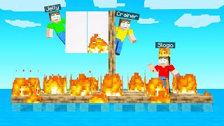 OUR RAFT CAUGHT FIRE In Minecraft!