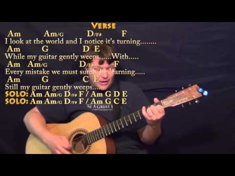 While My Guitar Gently Weeps (Beatles) Strum Guitar Cover Lesson With Chords/Lyrics