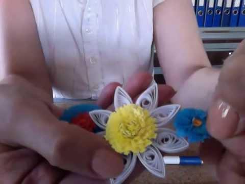 Quilling Püskül Çiçek Yapımı - Fringe Flower