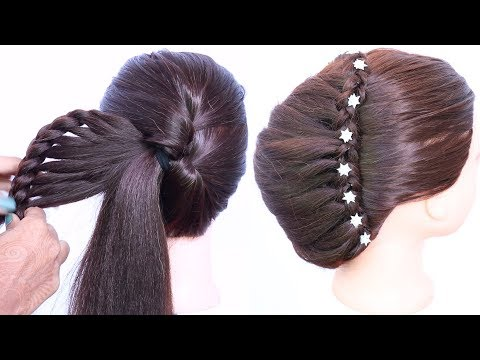 Braid hairstyles - latest updo hairstyle for medium hair with trick  trending hairstyles  hairstyles for wedding