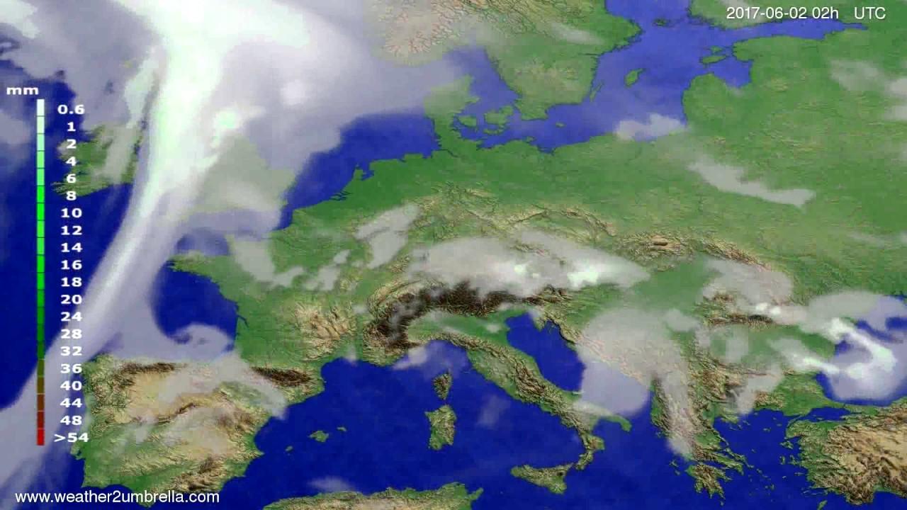 Precipitation forecast Europe 2017-05-29