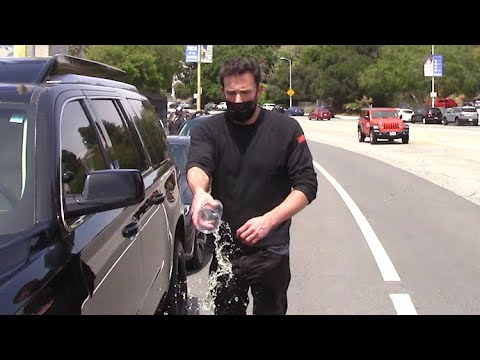 Ben Affleck Throws Water On Paps When Asked if He's Back With Jennifer Lopez