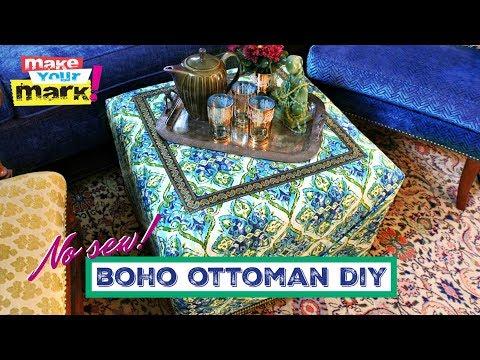 No-Sew Boho Ottoman DIY