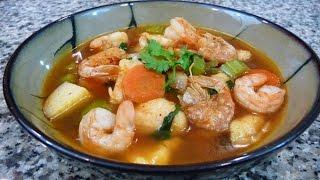 Receta Caldo de Camaron receta familiar comida Mexicana
