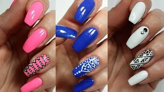 3 Easy Accent Nail Ideas! Freehand (Khrystynas Nail Art) - YouTube