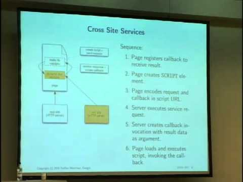 RPC - Speaker: Steffen Meschkat Cross Site Scripting and Client Side Web Services JSON RPC is a recently fashionable buzzword in the AJAX context. This lecture exp...