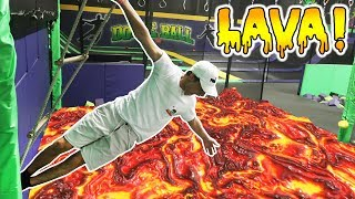 INTENSE FLOOR IS LAVA CHALLENGE AT TRAMPOLINE PARK WITH WORKERS!!