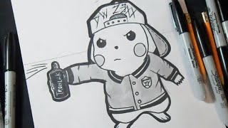 Speed Drawing Bad Pikachu (Graffiti) Za.