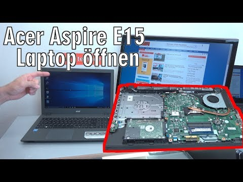 Acer Aspire E15 Laptop öffnen - HDD SSD Akku Batterie RAM Lüfter wechseln - [4K]