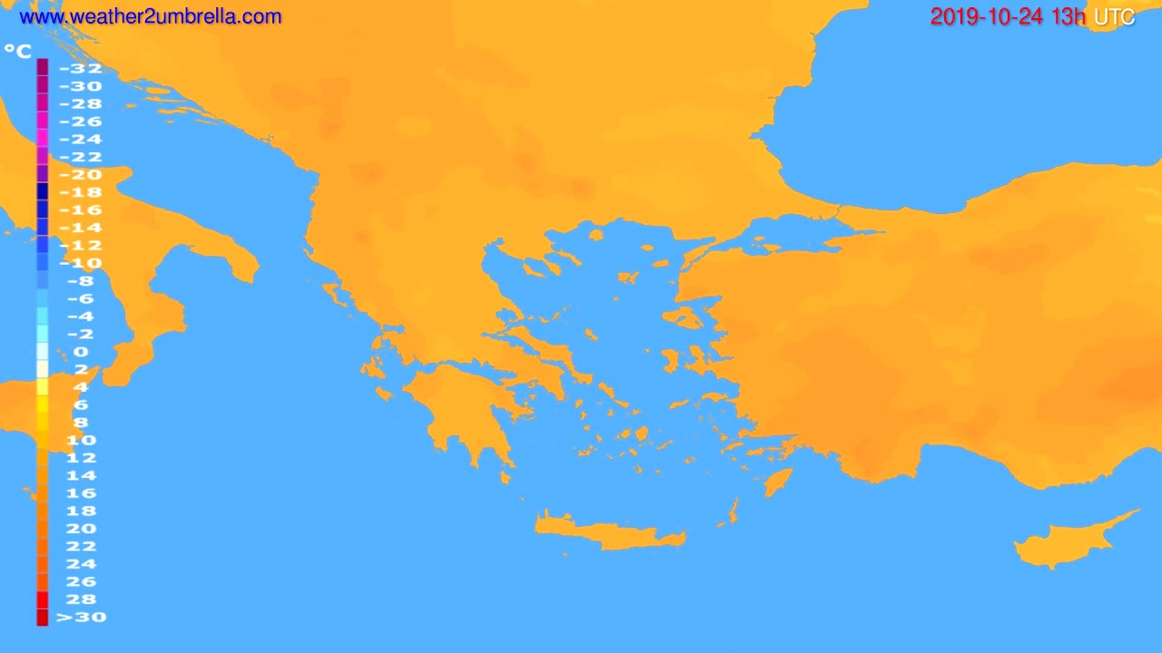 Temperature forecast Greece // modelrun: 12h UTC 2019-10-22