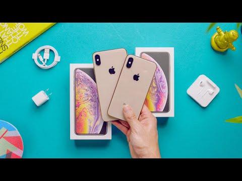 Apple iPhone XS Max vs XS  Unboxing! (Gold) (видео)