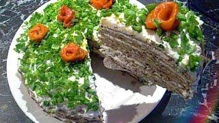 Печёночный торт с омлетными блинчиками и плавлеными сырками