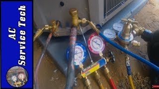 "In this HVAC Video, I go over how to Pressure Test Refrigeration Lines for an Air Conditioner. I show where to Find the Max Design Pressure, how long to hold the test, how to check the joints, and how to do an initial test before doing the higher nitrogen pressure test in. Always follow Manufacturers instructions if they prescribe higher pressures or a longer wait time. I have the nitrogen tank set on the side so it was close up for the video but I usually stand it up vertically.Supervision is needed by a licensed HVAC Tech while doing this as Experience and Apprenticeship garners Wisdom and Safety.These Videos are all part of our Training Series on HVACR Service, Installation, Preventative Maintenance, General Knowledge, and Tips. Please comment and ask for videos that you would like to see in the future! We come out with new videos every few days from my job sites, service calls, and the training shop! I hope you enjoy and find them very beneficial! See you next time at ACSERVICETECH Channel!Check out this Playlist Next, Refrigerant Recovery!https://www.youtube.com/playlist?list=PLxnHR5_D2ojxfgT_HPLImCXkJdhMnUtFoBrazing with Nitrogen- https://www.youtube.com/playlist?list=PLxnHR5_D2ojxi-kOFQ5FWDIUAE8ngzmZyPressure Test, Blow Out Procedure, Vacuum Setup- https://youtu.be/-Fawq6cpVSwACSERVICETECH is a participant in the Amazon Services LLC Associates Program, an affiliate advertising program designed to provide a means for sites to earn advertising fees by advertising and linking to Amazon.com.You can enter Amazon through this Affiliate Link found here or in the "" Discussion"" Channel Page Comments http://amzn.to/2aenwTqPrices are the same as usual. (Link has to be clicked on from an ACSERVICETECH YouTube source and not cut and pasted)Here is a link the Nitrogen Regulator    http://amzn.to/2bXdR5fHere is a link to the Nitrogen Flow Meter    http://amzn.to/2brvoBgHere is a link for RectorSeal Bubble Gas Leak Detector http://amzn.to/2ckWACnHere is a link to the Air Acetylene Torch setup-    http://amzn.to/2aQalsb  Here is a link to the Nitrogen Flow Meter    http://amzn.to/2brvoBgHere is a link to Refrigerant hoses with valves used in the videos  http://amzn.to/2aBumVI   Here is the Link for the Yellow Jacket Refrigerant Manifold Gauge Set used in the videos http://amzn.to/2aenwTqHere is a link to the Hilmor 4 port Aluminum Manifold Gauge Set- http://amzn.to/2m4QLikHere is a link to the Appion core removal and vacuum tool- http://amzn.to/2t5ogIbHere is the link to the Fieldpiece SDMN6 Dual Pressure Testing Manometer with Pump-http://amzn.to/2jyK5KaHere is a link to the UEI DL389 Multimeter used in the video  http://amzn.to/2av8s3qHere is a link to the Air Acetylene Torch setup-    http://amzn.to/2aQalsb  Here is a link to the Nitrogen Flow Meter    http://amzn.to/2brvoBgHere is a link for the Supco Magnet Jumpers http://amzn.to/2gS4h6zHere is a link to the Digital Refrigerant Scale used in the videohttp://amzn.to/2b9oXYlHere is a link to the thermostat 3/32 screwdriver --  http://amzn.to/2hxt7uKHere is a link to the JB 6 CFM Vacuum Pump   http://amzn.to/2nqbvo8Here is a link to the JB Platinum 5 CFM Vacuum Pump with Valve  http://amzn.to/2mGKcShHere is a link to the Supco Vacuum Micron Gauge  http://amzn.to/2bH98bOHere is a link to the 1/4"" by 1/4"" female coupler from Supco - http://amzn.to/2kFrbU9Here is a link to the General Tools digital Psychrometer http://amzn.to/2cSHsi1Here is a link to the Amprobe Digital Psychrometer http://amzn.to/2d7cGkWHere is a link to the Fieldpiece SDP2 Digital Psychrometer- http://amzn.to/2nniMVRHere is the UEI Digital Manometer used in the videos  http://amzn.to/2c1XkiTHere is the link for the Ratcheting Service Wrench   http://amzn.to/2dGV4NhHere is a link to the Appion G5 Twin Recovery Pump   http://amzn.to/2dGSEyr Here is a link to the Malco Sheet metal scribe-   http://amzn.to/2qCwu9DHere is a link to the Wiss Right Tin Snips-   http://amzn.to/2rGnBvXHere is a link to the Wiss Bulldog snips-   http://amzn.to/2rd1Dz5Here is a link to the Malco 90 Degree Right Hand Vertical Snips-   http://amzn.to/2qHHpu4Here is a link to the Malco 90 Degree Left Hand Vertical Snips-   http://amzn.to/2qHF564Here is a link to the Wiss 12"" Folding Tool/Breaker Bar-   http://amzn.to/2qD3LxiHere is a link to the Wiss 3 Pack Tin Snips-   http://amzn.to/2bHWhWOHere is a link to the Wiss 5 Blade Crimper-   http://amzn.to/2bwTlsWHere is a link to the Wiss Hand Seamers-    http://amzn.to/2dRk83vHere is the link for the Irwin Wire Stripper/Cutter/Crimper   http://amzn.to/2dGTj2VHere is the link to the Stanley 6 in 1 Screwdriver  http://amzn.to/2q2SAheThanks for your support! I believe this to be the verybest price I have found. Please let me know if anyone finds a lower price anywhere!Thank You, ACSERVICETECH"