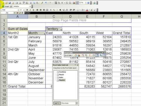 Group Months into Quarters in an Excel Pivot Table