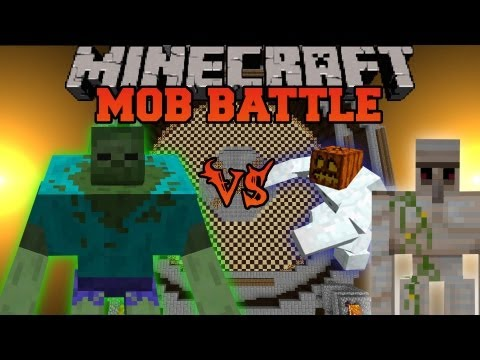 Mutant Zombie Vs Iron Golem and Mutant Snow Golem - Minecraft Mob Battles - Mutant Creatures Mod