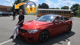 DRIVING MY BMW M4 TO HIGHSCHOOL! SURPRISING MY BROTHER (FUNNY REACTIONS)
