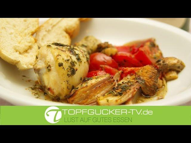 Gebackene Hähnchenkeulen mit mediterranen Gemüse und Mallorquinischen Kräutergarten | Topfgucker-TV