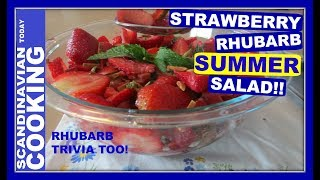 Rhubarb has been an important ingredient in Denmark since the 1800's. Summer memories including gardens with rhubab growing in Danish garden's such as my Mormor's garden. As well, rhubarb recipes such as rabarbergrød.  Here is modern rhubarb recipe that I had in Bakken a couple summers ago.  I added sliced strawberries and mint to this salad which compliments rhubarb very well too.How to Make Strawberry Rhubarb Salad 🍓☀Ingredients ☀4 cups of thinly sliced rhubarb1/2 a cup of orange juice1/2 a cup of lemon juice 🍋3/4 cup of sugarClean & slice 2 cups of strawberries.Slice or tear fresh 3 or 4 mint leaves Toasted sliced almondsInstructions:-Mix rhubarb, orange juice, lemon juice and sugar in a bowl. -Let rhubarb mixture sit until slightly softened and releases its juices, about 30 minutes. -Preheat oven to 350°. Toast sliced almonds until golden brown, 8–10 minutes. Let cool. -After 30 minutes mix in sliced strawberries and torn mint leaves and sprinkle toasted almonds over salad.-Mix the strawberry rhubarb mixture in the bowl. 🥄 Serve the same day.  The salad will become too soft if served the next day.❄️To get complete recipe with instructions and measurements, check out our bloghttp://scandinavtoday.blogspot.com/2017/06/how-to-make-strawberry-rhubarb-salad.html❄️We hope you enjoyed our video and recipe!  ❄️ Give us thumbs up if you like this video & subscribe for more videos. 👍👍 Thanks! Tak!❄️For notifications of our video release click on the bell (lower left of the video)❄️ SUBSCRIBE to learn how to make Scandinavian dishes. https://www.youtube.com/user/ScandinavianToday❄️ Our Scandinavian Today Cooking Show includes Nordic recipes including Danish, Norwegian, Swedish, Icelandic and Finnish. You might be interested in other Nordic cooking videos includingÆbleskiver ♥ How to Make Danish Aebleskiver with Apple Filling  ❅https://youtu.be/mb8Y9IyfMS4How to make Swedish Glogg for Christmas & cold evenings! (glögg or mulled wine recipe) https://youtu.be/uDJNn6-nZFE?list