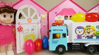 Delivery car Baby doll house and surprise eggs toys play