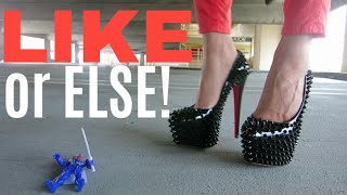 Hot Girl In Spiked High Heels Hates YouTube Thumbs Down
