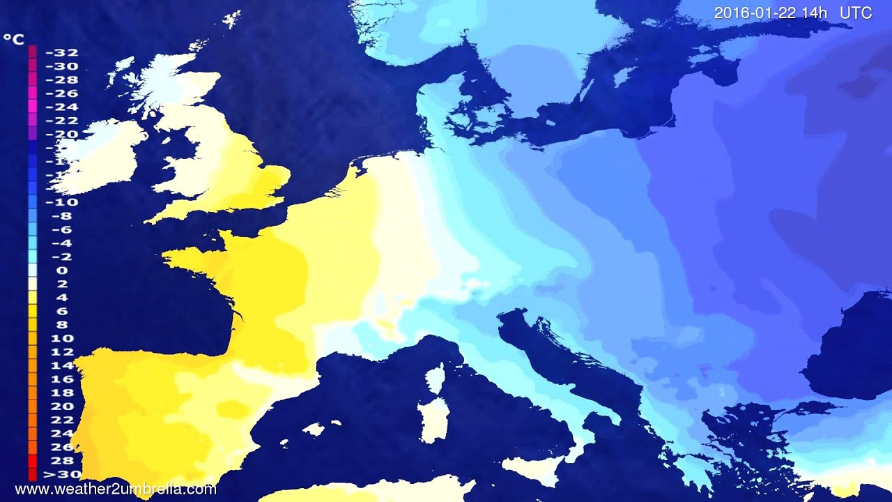 Temperature forecast Europe 2016-01-18