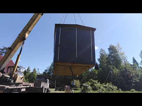 Выгрузка готовой мобильной бани 2,3х5,0 м в деревне Сорзуй Волховского района