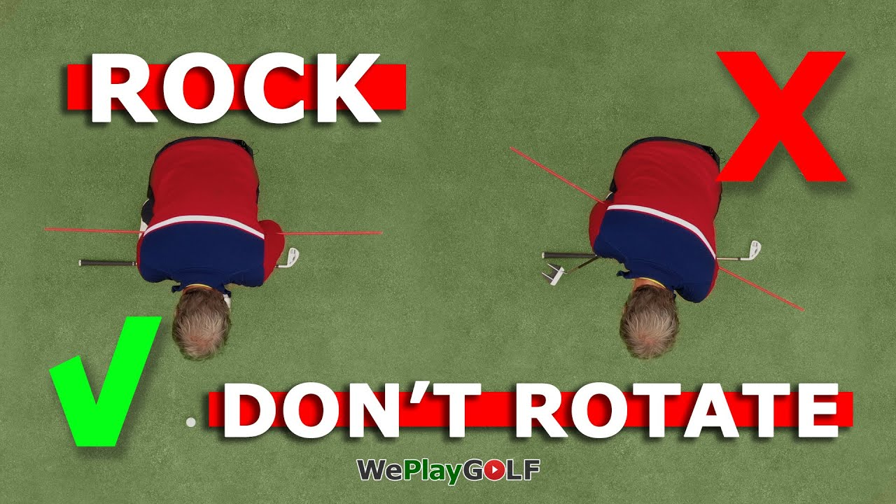 Rock your shoulders, don't rotate while you putt