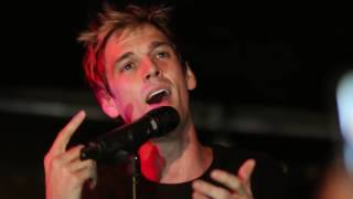 "Aaron Carter's new song ""Recovery"" live @ Kulturzentrum Faust Hannover 22/01/2015.source https://www.youtube.com/watch?v=8L7ujCYPehY"