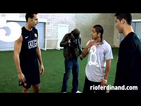Christiano - Football freestyler and TV presenter, Jeremy Lynch performs his amazing skills at Man Utd training ground with Christiano Ronaldo for Rio Ferdinand's No5 Mag...