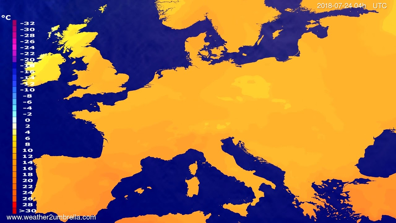 Temperature forecast Europe 2018-07-20