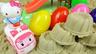 Sand ground and Hello Kitty baby doll with Surprise eggs toys play