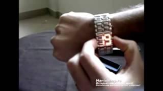 Японские вдохновляющие бинарные светодиодные электронные цифровые часы-браслеты с красными или синими...